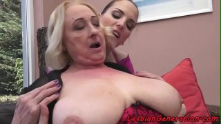 Smalltit babe licked and fingered by granny